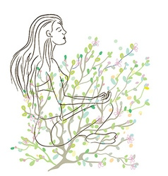 Yoga poster with girl sketch and nature background vector image