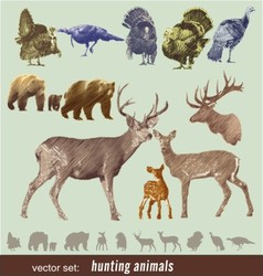 Hunting animals vector