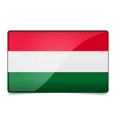 Hungary flag button with reflection and shadow vector