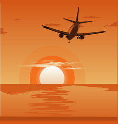 Airplane flying above tropical sea at sunset vector