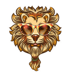 hipster lion with colorful eyeglasses vector image