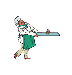 African chef cook brings a tray of dessert cupcake vector