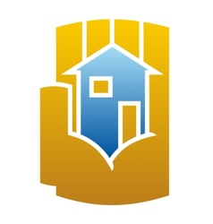 House icon cupped in a hand vector image