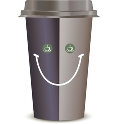 Coffee Cup with a smile Isolated on a white vector image