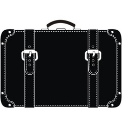 Black leather suitcase vector