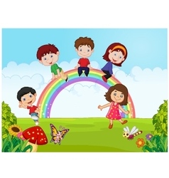 Cartoon happy kids sitting on rainbow on the jungl vector