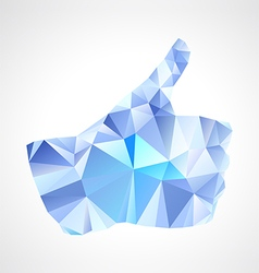 Geometric polygonal blue abstract like button vector