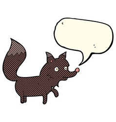 Cartoon wolf cub with speech bubble vector