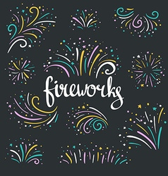 Hand drawn colorful fireworks on dark background vector