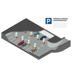 Underground parking with cars indoor car park vector