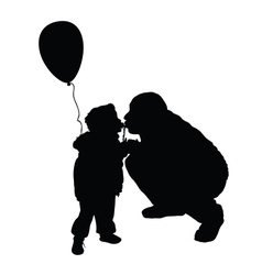 Child kissing dad silhouette vector