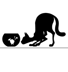 Silhouette cat watching aquarium for fish vector