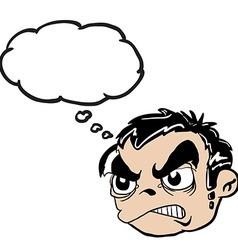 angry boy head with thought bubble vector image
