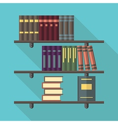 Bookshelf with many books vector