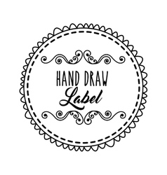 Decorated seal stamp icon hand draw label design vector
