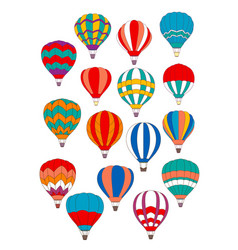 Air balloon isolated icons set vector