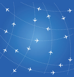airplane routes on blue background vector image vector image