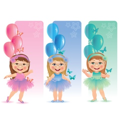 Beautiful banner with cute little girl vector image vector image