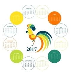 Calendar for 2017 chinese new year red rooster vector
