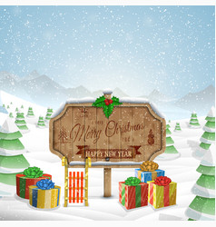 Christmas greeting board vector image vector image