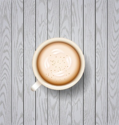 Coffee latte on wooden background vector