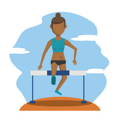 Color scene with faceless brunette athlete woman vector