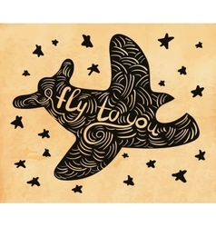 cute hand drawn airplane vector image