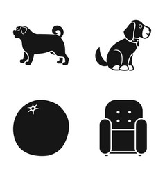 Dog puppy and other web icon in black style vector