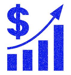 dollar bar chart trend grunge icon vector image