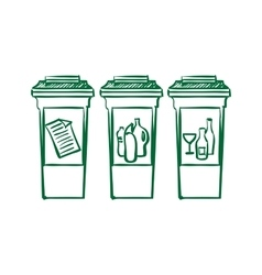 Doodle recycle bins garbage separation vector