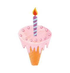 Drawing cake pastry candle flame vector