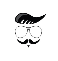face with mustache cartoon vector image vector image