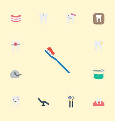 Flat icons equipment decay gingivitis and other vector