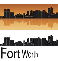 Fort Worth skyline in orange background vector image