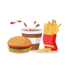 Hamburger fries in red bag soda or cola vector