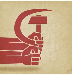 hands with hammer and sickle old background vector image vector image