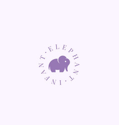 Infant elephant abstract sign symbol or vector