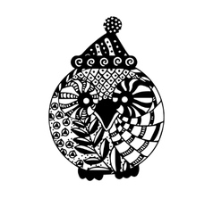 Owl in christmas hat isolated black and white vector