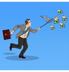 Pop Art Businessman Catching Flying Money vector image