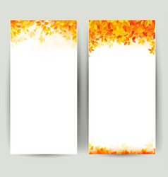 set of two nature banners with autumn leaves vector image vector image
