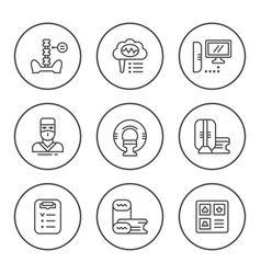 set round line icons of magnetic resonance imaging vector image vector image