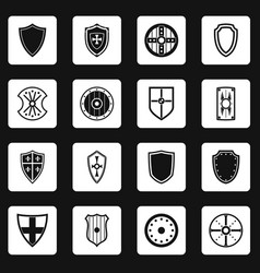 Shield frames icons set squares vector