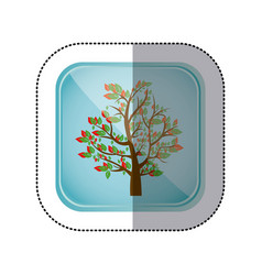 Sticker colorful square frame and blue background vector