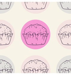Stylized muffins seamless background vector