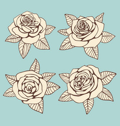vintage hand drawn roses with leaves design vector image vector image