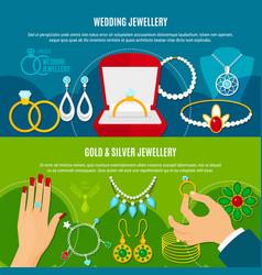 wedding jewelry horizontal banners vector image