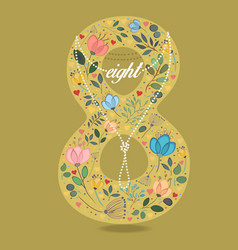 Yellow number eight with floral decor and necklace vector