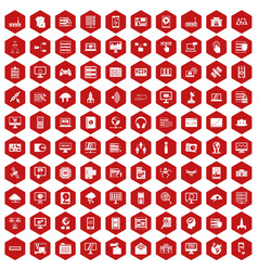 100 database and cloud icons hexagon red vector