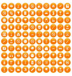 100 tension icons set orange vector