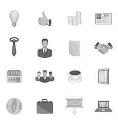 Business strategy icons set black monochrome style vector